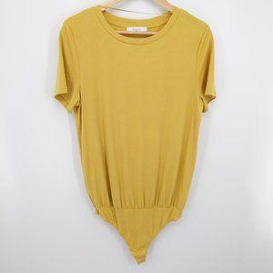 3 for $15 Elodie Mustard T-Shirt Thong Bodysuit